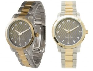 Montre bracelet unisexe 2 tons Gold 2 images