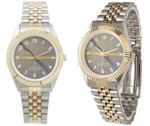 Montre unisexe avec bracelet 2 tons GOLD