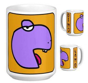 mug dino tete violette 3 cotes